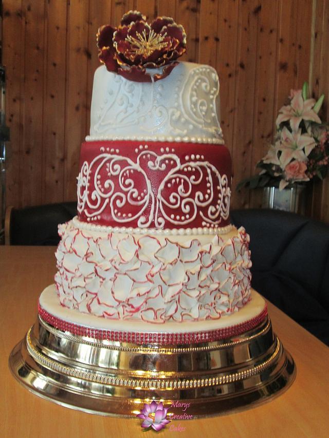 Maroon red wedding cake