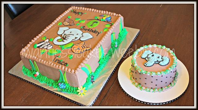 Remarkable Jungle Animals 1St Birthday Sheet Cake Cake By Jessica Cakesdecor Personalised Birthday Cards Veneteletsinfo