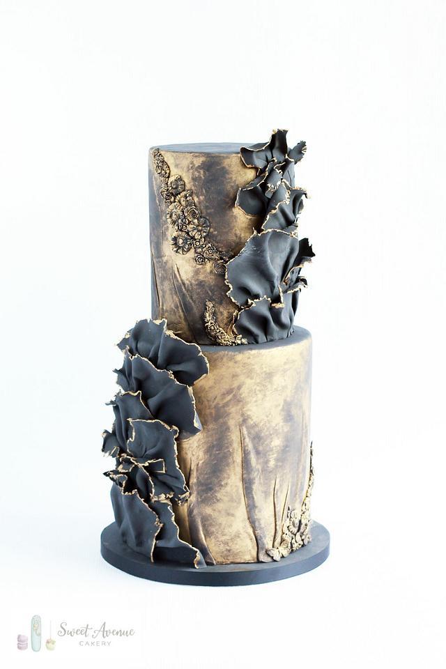 Black and gold aged stone vintage wedding cake - Sweet Avenue Cakery