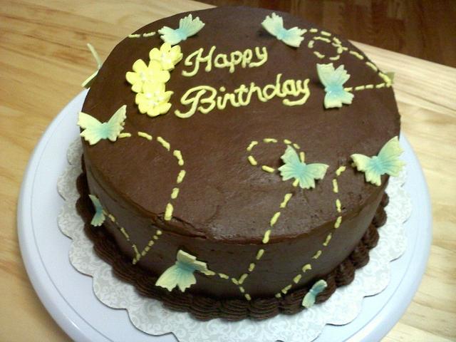 Butterfly chocolate caramel birthday cake