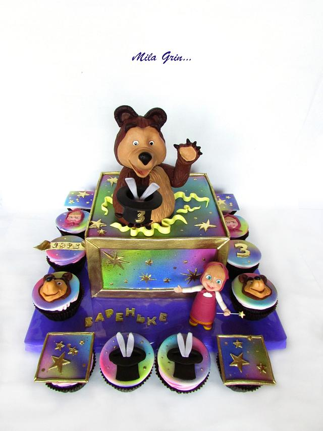 Masha and the bear cake: Hocus-pocus