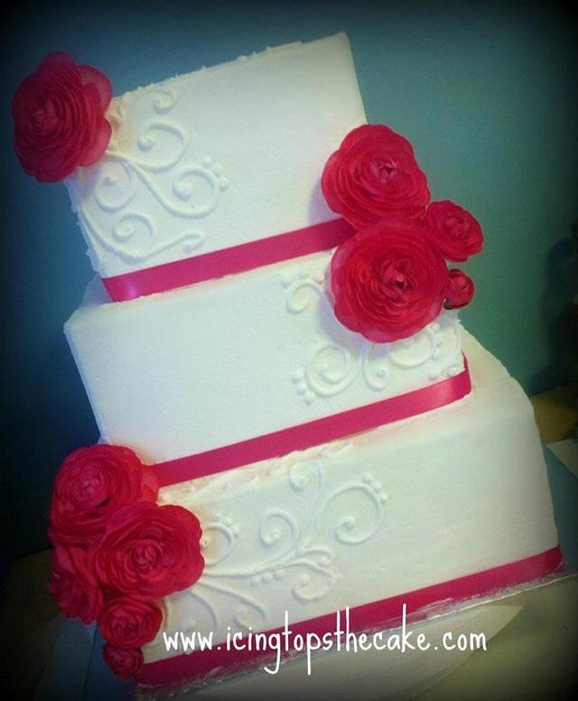 White and Hot Pink Wedding Cake w/ Ranunculus Flowers