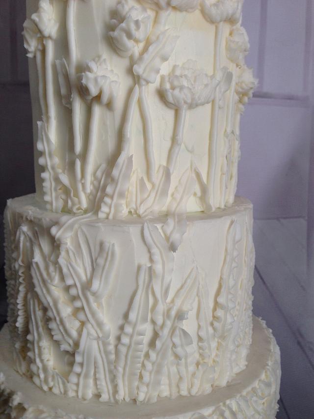 All White Buttercream Bas Relief Wedding Cake