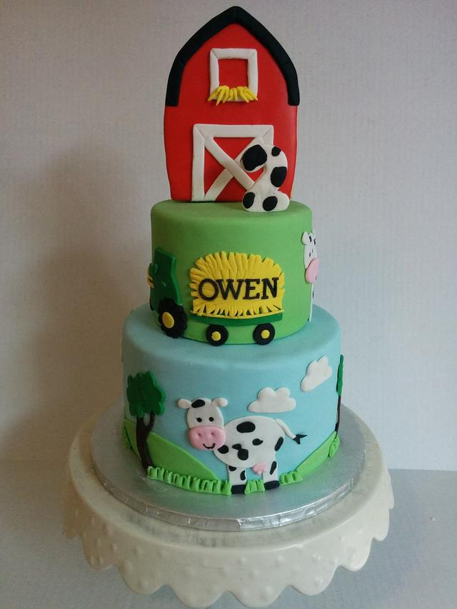 Superb Cow And Farm 2Nd Birthday Cake Cake By Cake That Bakery Cakesdecor Funny Birthday Cards Online Overcheapnameinfo