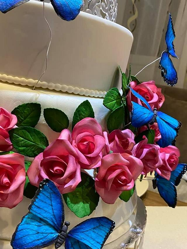 Butterflies and roses - 18th birthday cake