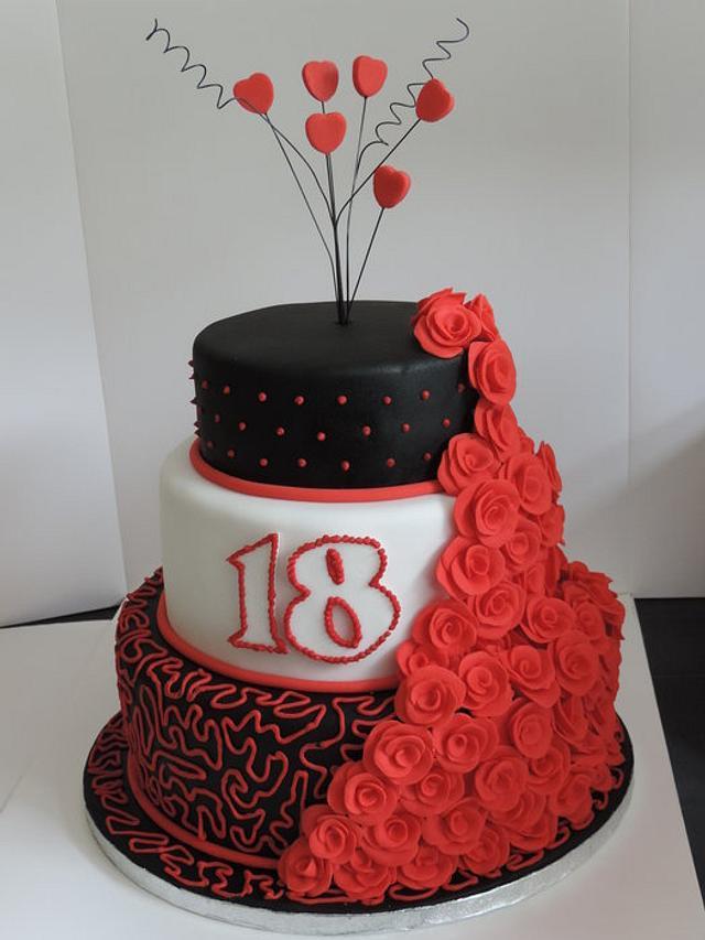 Remarkable 3 Tier Black And Red Birthday Cake Cake By David Mason Cakesdecor Personalised Birthday Cards Sponlily Jamesorg