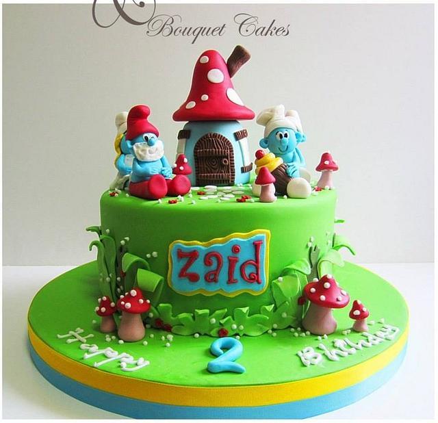 Awe Inspiring Smurfs Cake Cake By Ghada Bouquet Cakes Cakesdecor Funny Birthday Cards Online Overcheapnameinfo