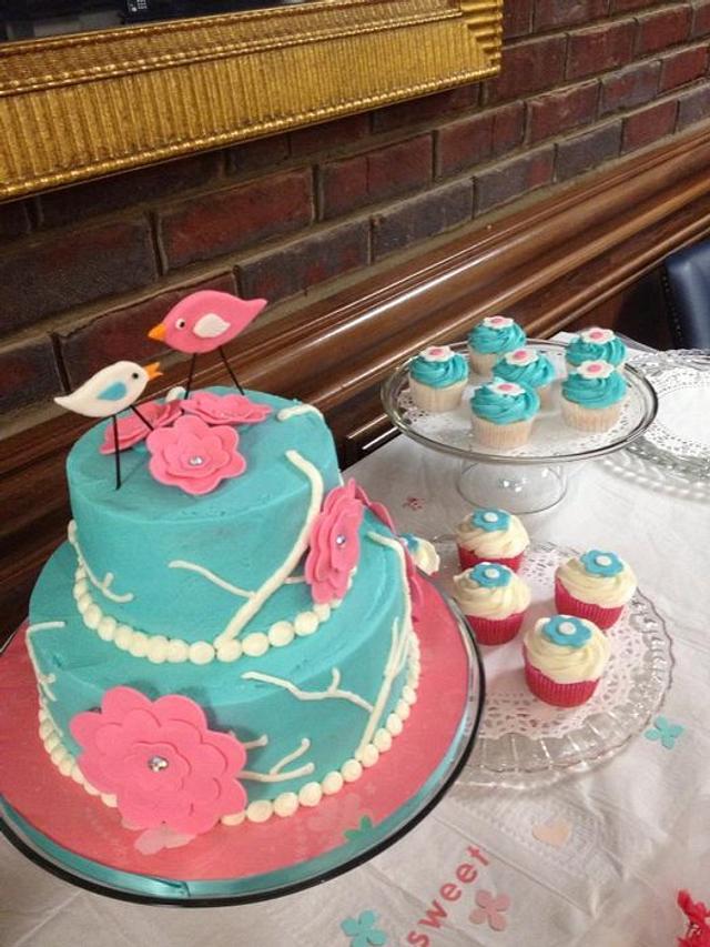Tiffany Blue Cake with Birds