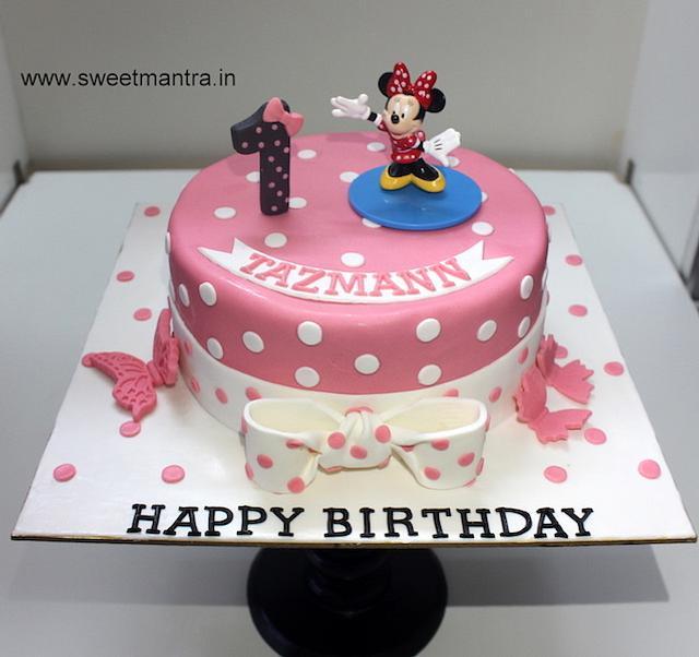 Awesome Minnie Mouse Theme Designer Fondant Cake For Girls 1St Cakesdecor Funny Birthday Cards Online Inifofree Goldxyz