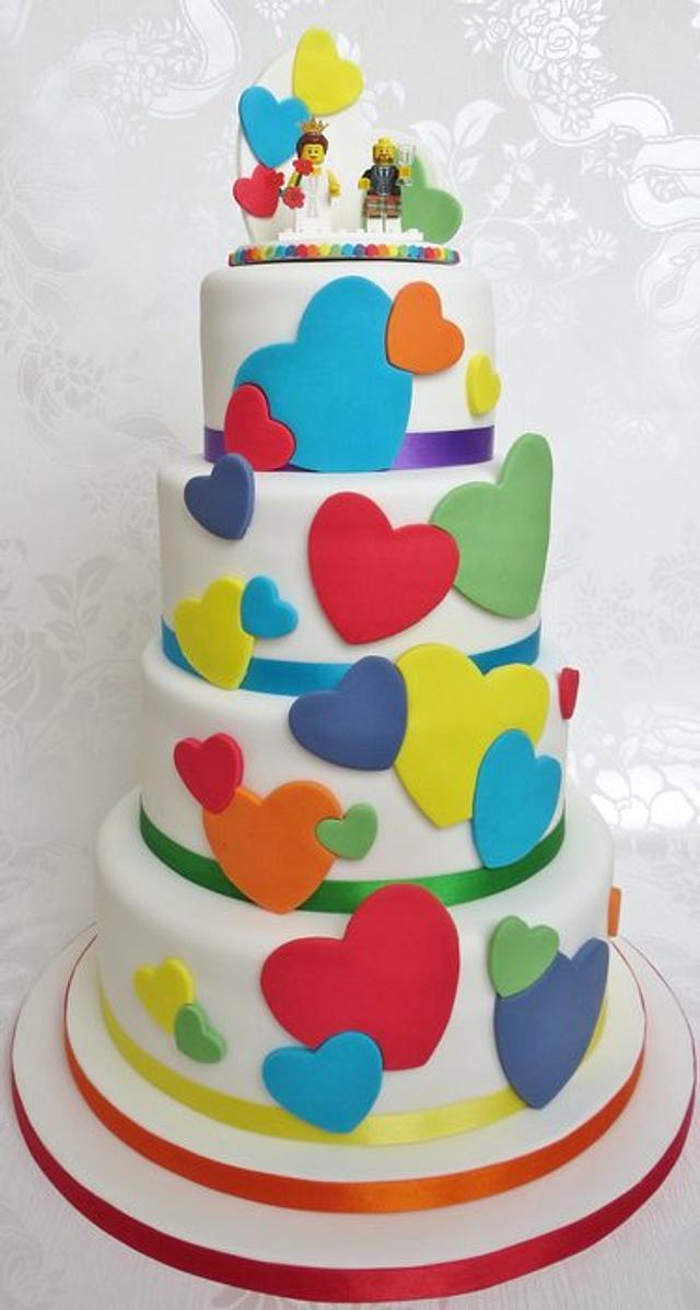 Rainbow Heart Cake and Lego Topper