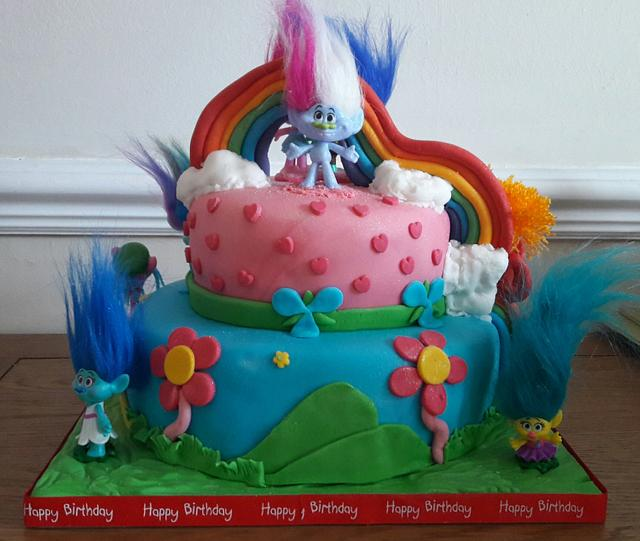Trolls celebration cake
