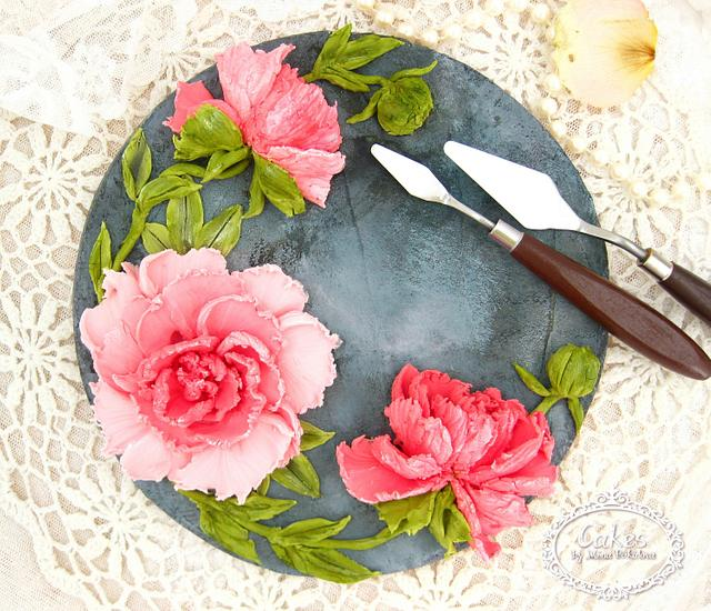 Knife painting peonies