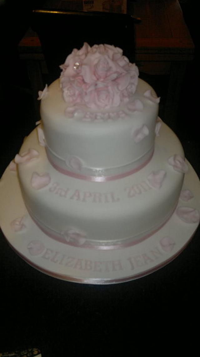 Two Tiered Christening cake