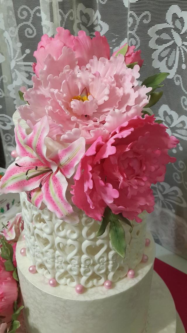 Three tier Wedding Cake with Gum Paste flowers