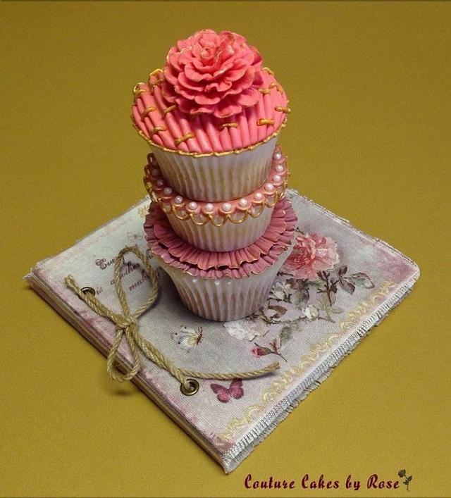 Old Rose Stacked Cupcakes (with video tutorial)