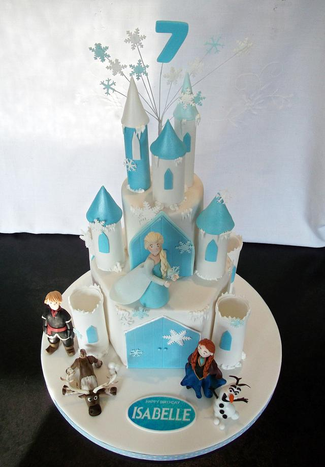 Pleasing Frozen Castle Cake With Hand Made Gumpaste Elsa Anna Cakesdecor Funny Birthday Cards Online Overcheapnameinfo
