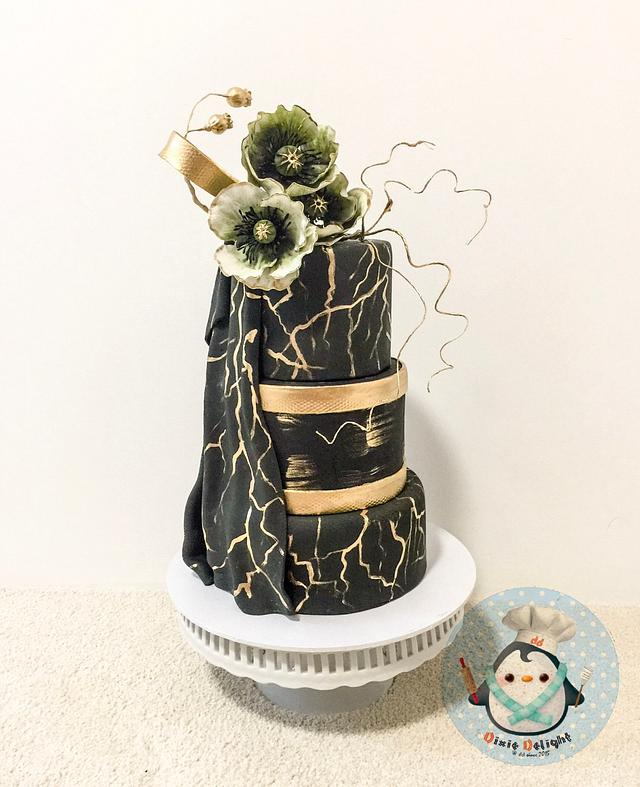 Black and Gold beauty couture cakers international collaboration 2018