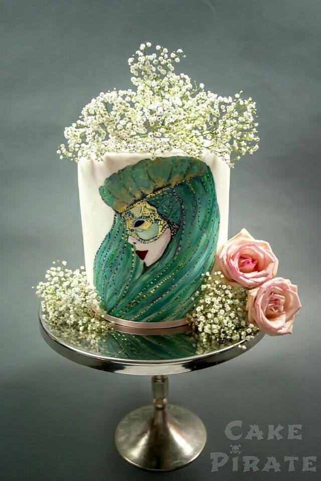Handpainted Venetian Carnival Collab Cake