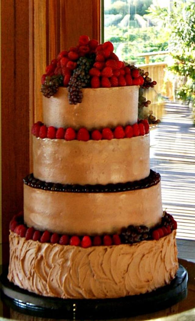 Chocolate berry wedding cake