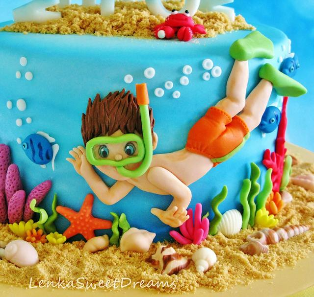 Under the sea diving cake.