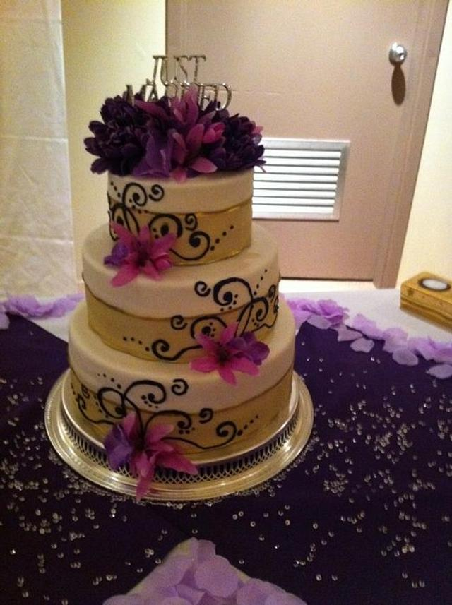 Purple Blossom Wedding Cake