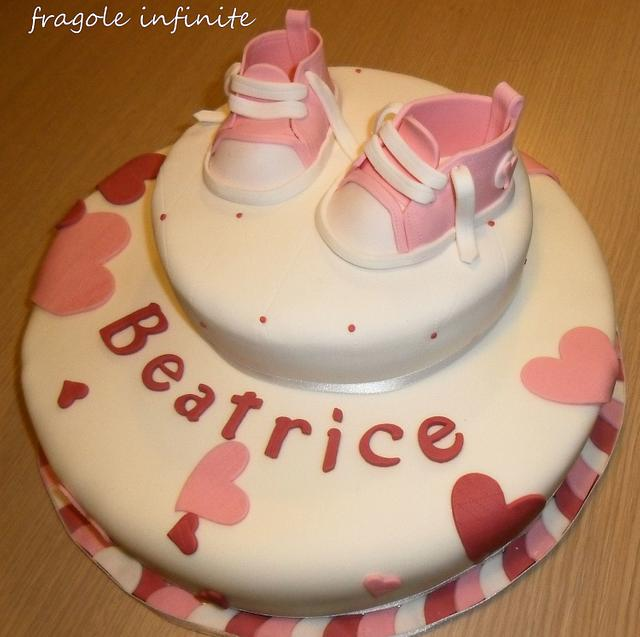 Christening Cake with Pink Converse shoes