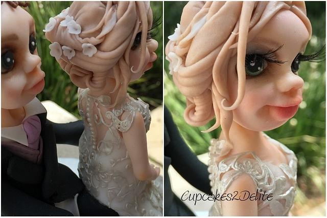 Bride in Lace Dress & Groom Figurine