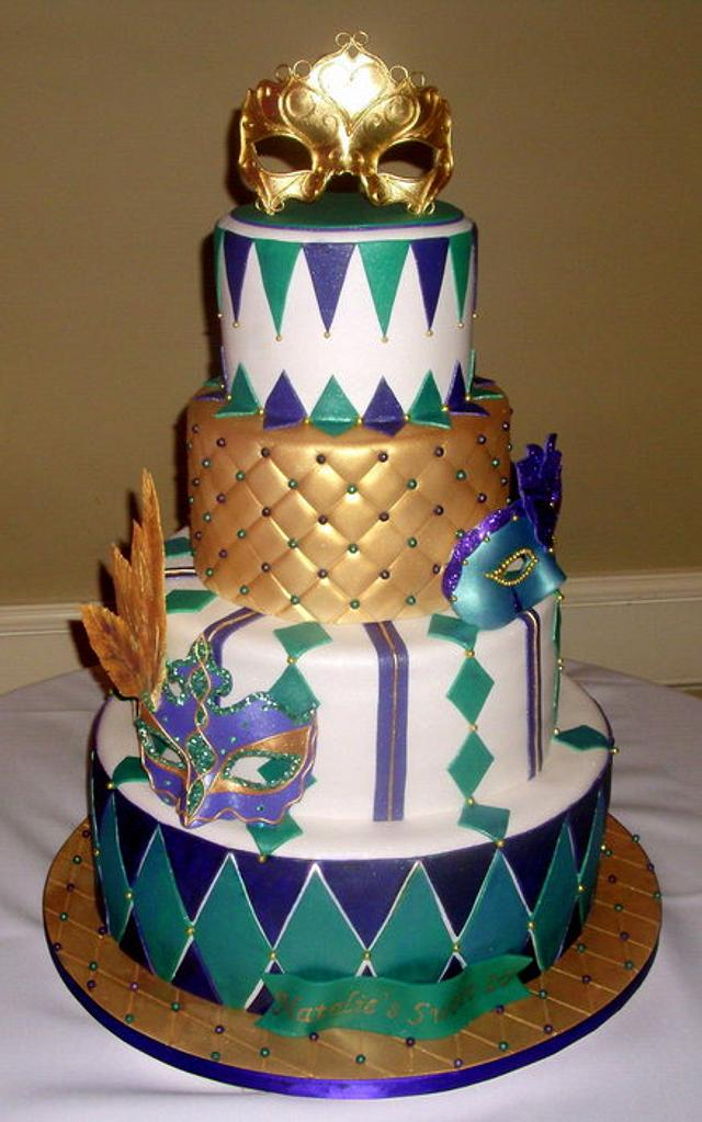 Sweet 16 Masquerade Birthday Cake