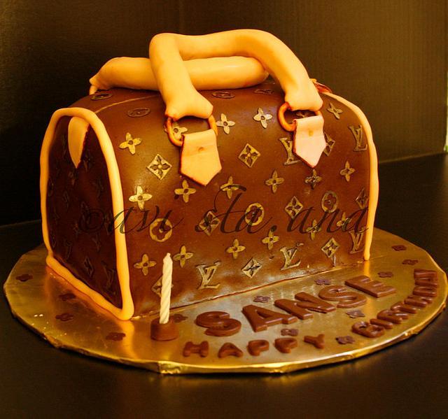 LV Bag inspired cake