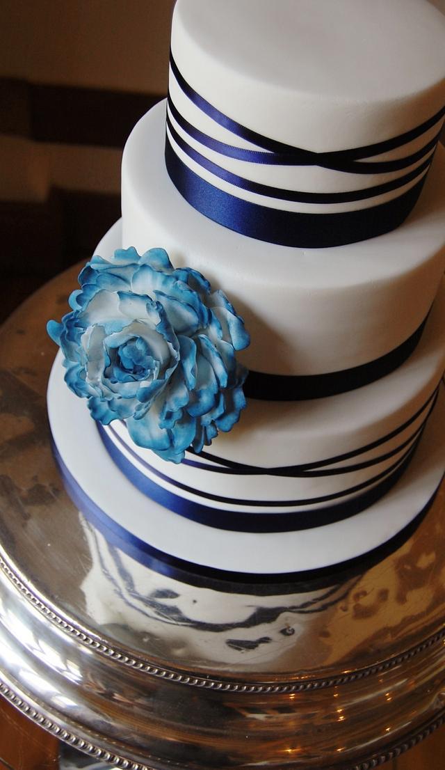 Navy Themed Peony Cake