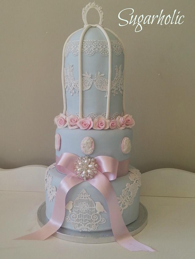 Vintage birdcage cake with sugar lace