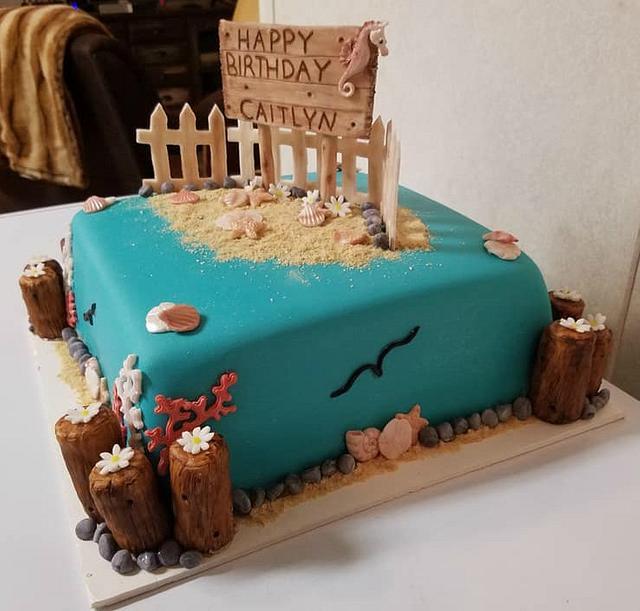 Awe Inspiring Beach Themed Birthday Cake Cake By Tootiebug Cakesdecor Funny Birthday Cards Online Overcheapnameinfo
