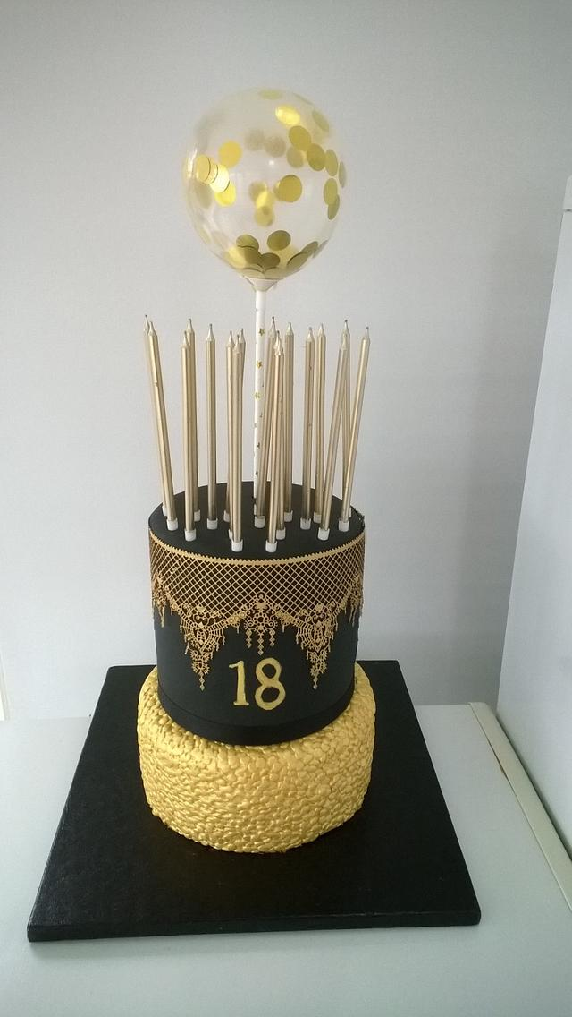 Enjoyable Black And Gold 18Th Birthday Cake Cake By Combe Cakes Cakesdecor Funny Birthday Cards Online Elaedamsfinfo