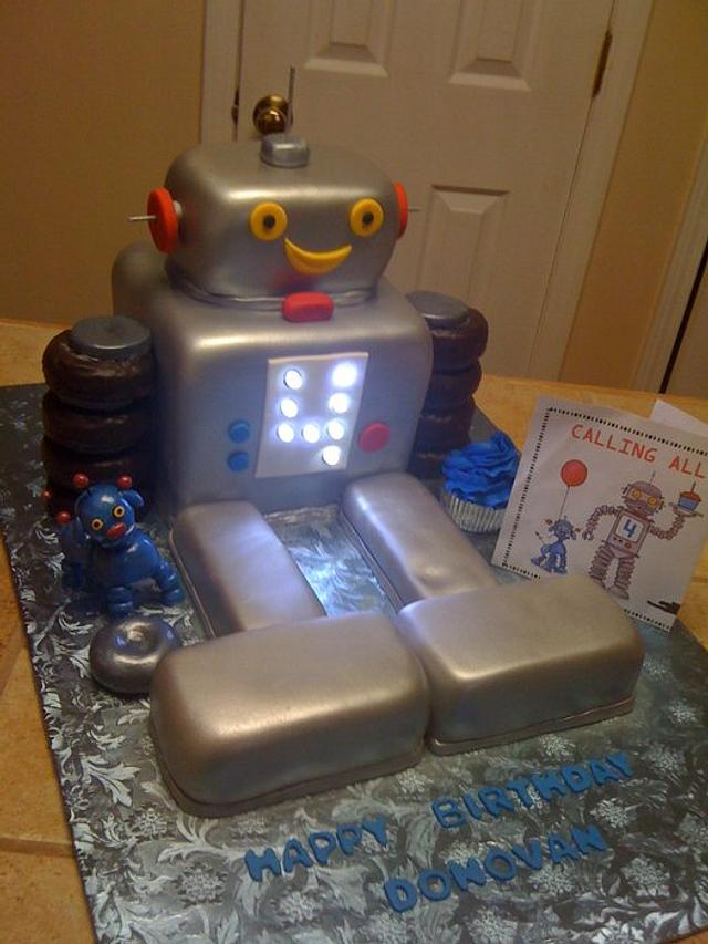 Robot birthday cake