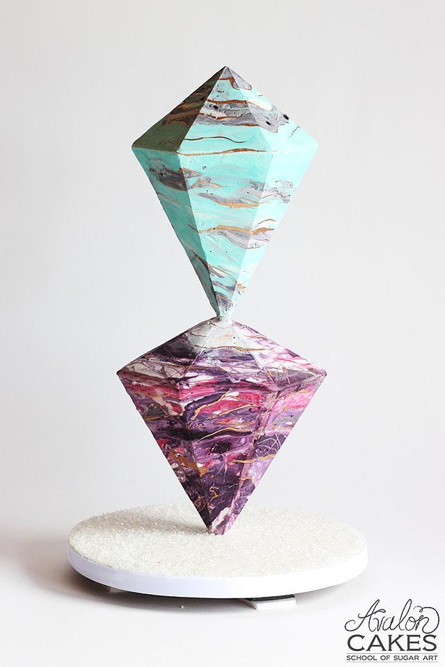 Geode Marbled Crystal Cake