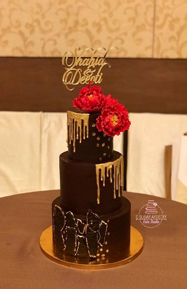 Gold Jewel Wedding Cake