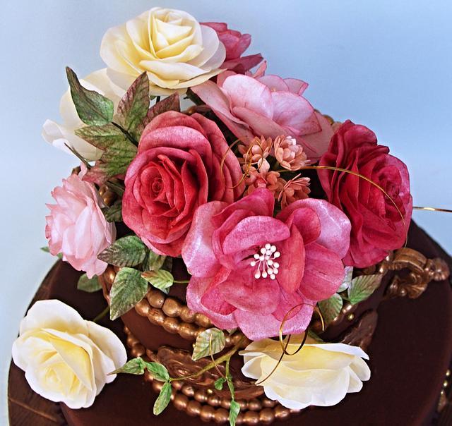 chocolate cake with flowers