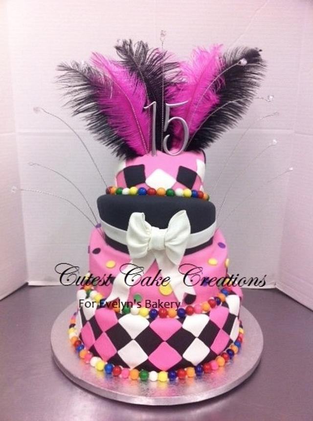 Hot pink, black and white sweet 15