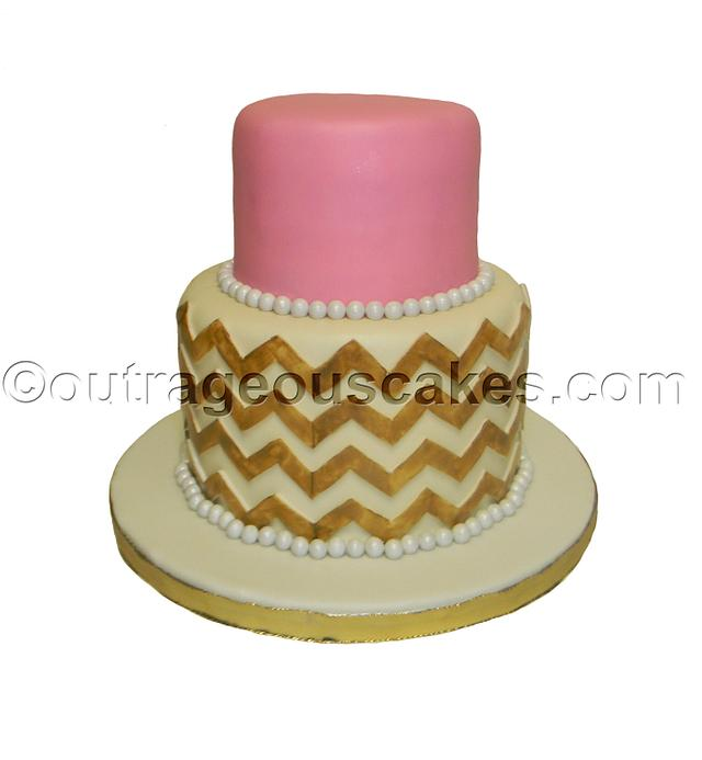Groovy Chevron Style Cake Cake By Outrageous Cakes Tampa Cakesdecor Personalised Birthday Cards Veneteletsinfo