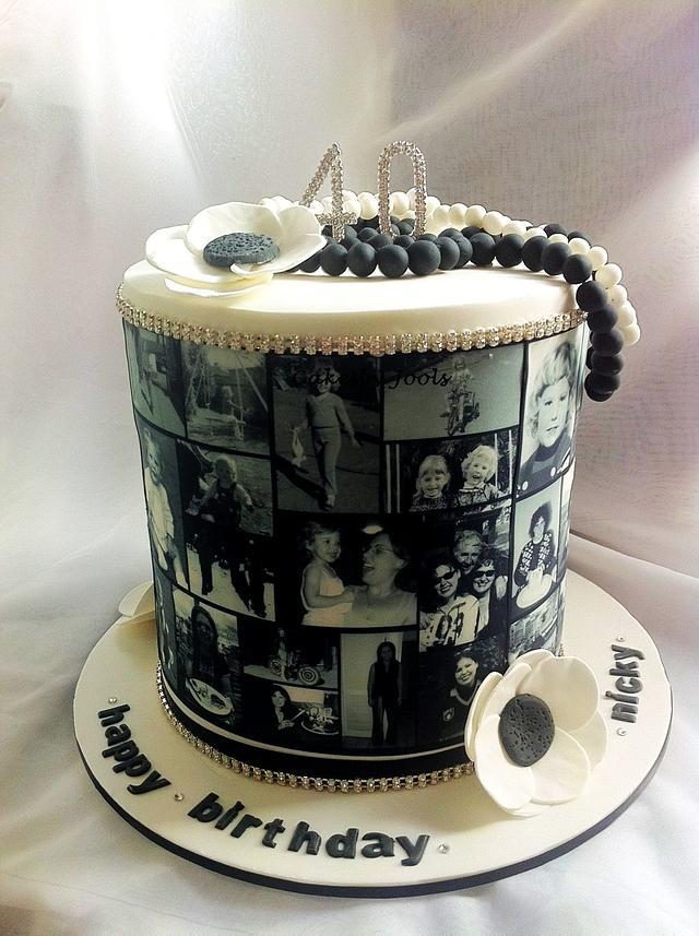 Triple barrel 40th birthday cake