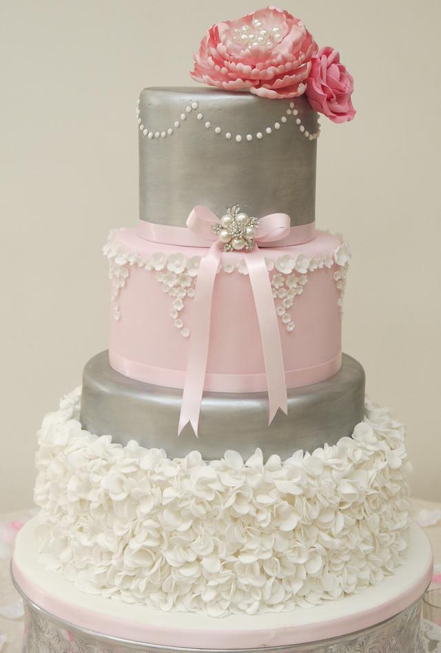 Lucy Pink Peony Wedding Cake