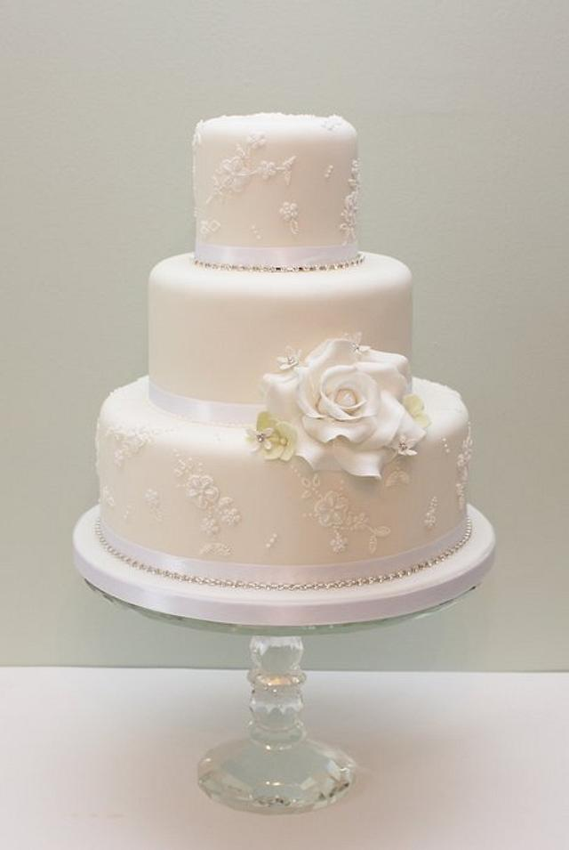 Diamante embroidery wedding cake