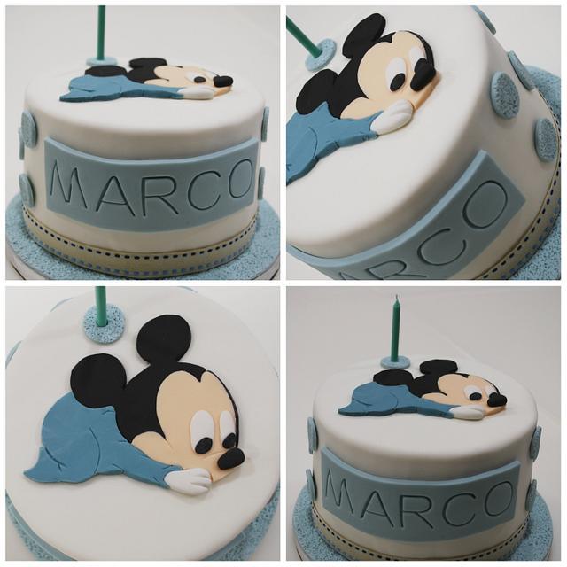 Swell 2D Baby Mickey Birthday Cake Cake By Ponona Cakes Cakesdecor Funny Birthday Cards Online Alyptdamsfinfo