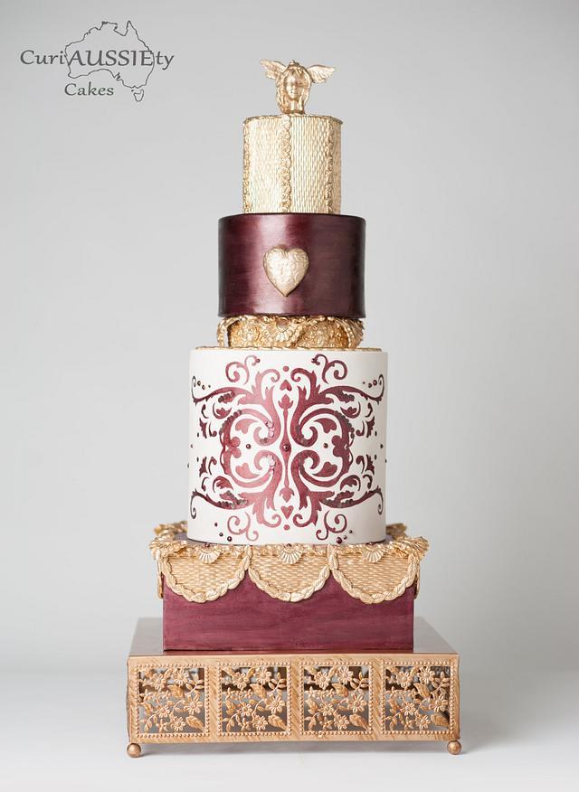 Burgundy and Gold fashion wedding cake