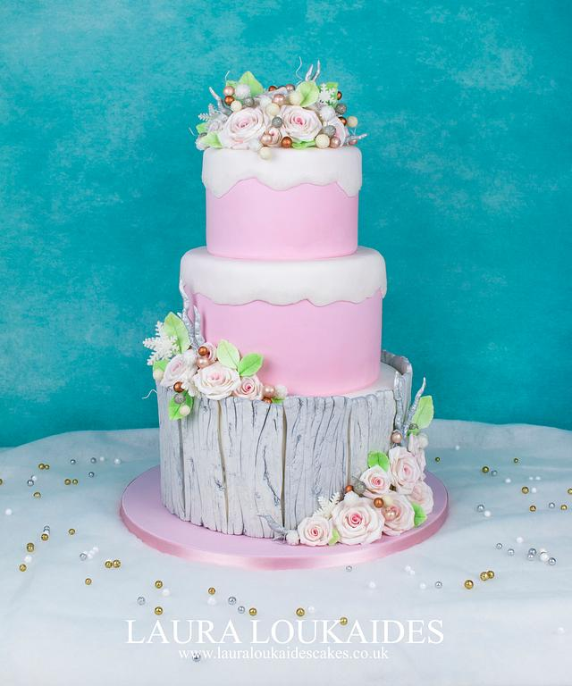 Pink Winter Wedding Cake