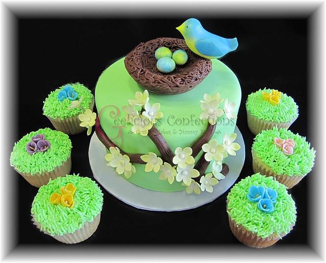 Birds Nest Baby Shower Cake