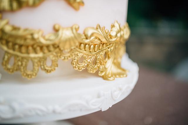 Blush and Gold Sugar Flower Wedding Cake