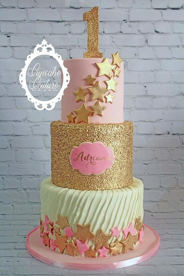 Peachy Twinkle Little Star Birthday Cake Cake By Marie Mae Cakesdecor Personalised Birthday Cards Veneteletsinfo