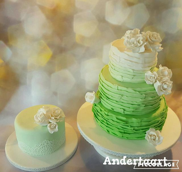 Green wedding ruffels and matching mother of the bride 's cake gluten free
