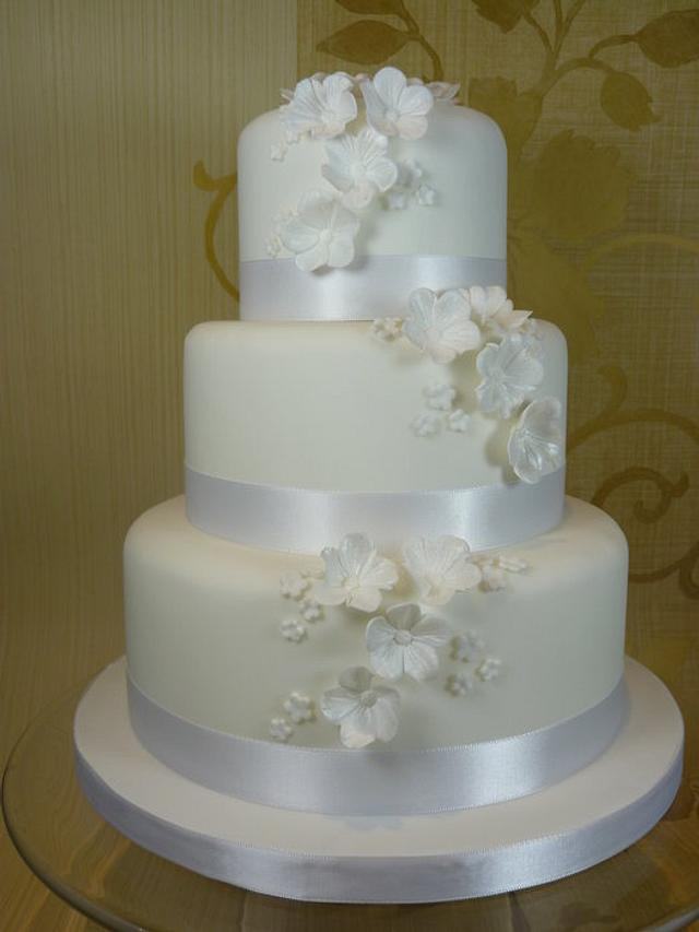 White Blossom Wedding Cake